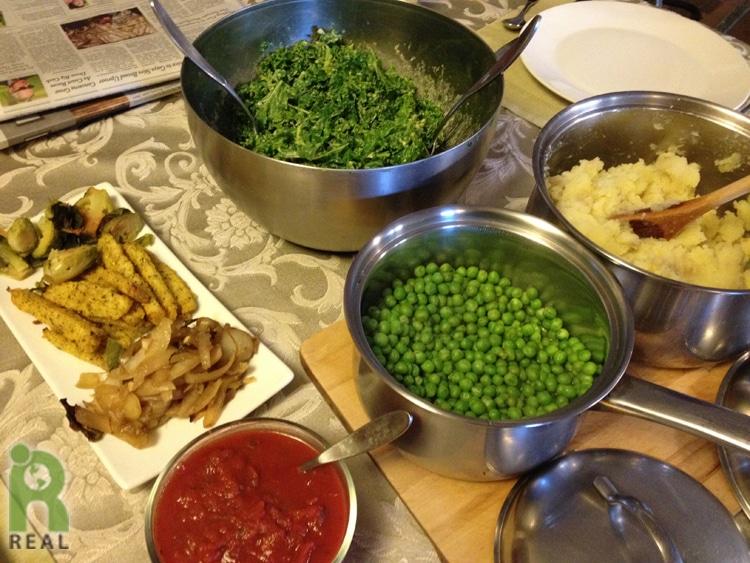 mashed-potatoes-peas-polenta-fries-sauce-kale-salad