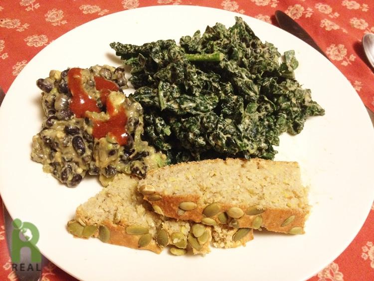 21march-beans-corn-bread-kale-salad