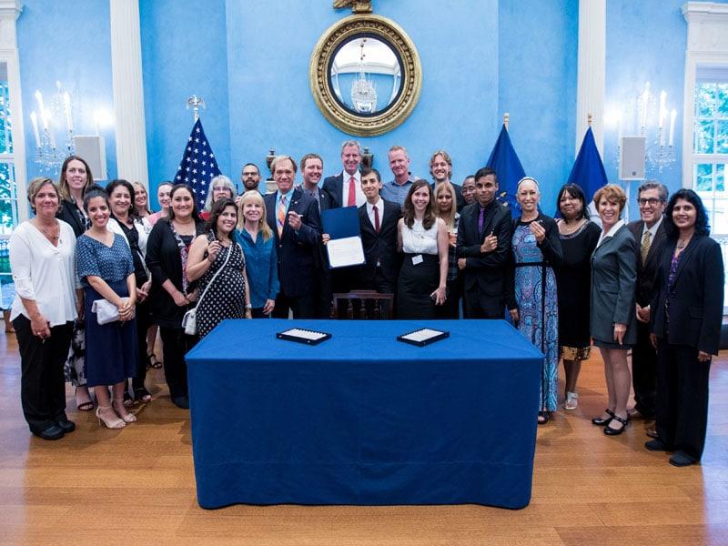 New York City Mayor Bill de Blasio participates in a ceremonial